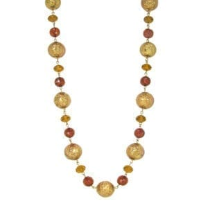 necklace with light brown spherical crystals