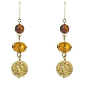 pair of earrings with brown gemstones