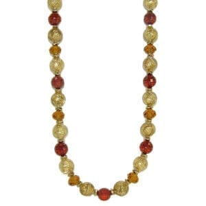 necklace with light brown and red beads