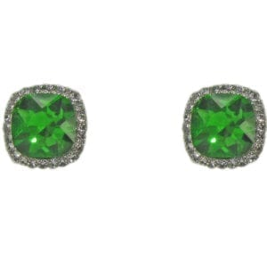 stud earrings with square cut green gems