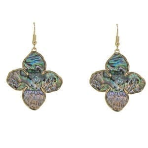 pair of clover earrings with opal finish