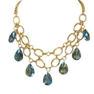 golden chain necklace with blue teardrop crystals