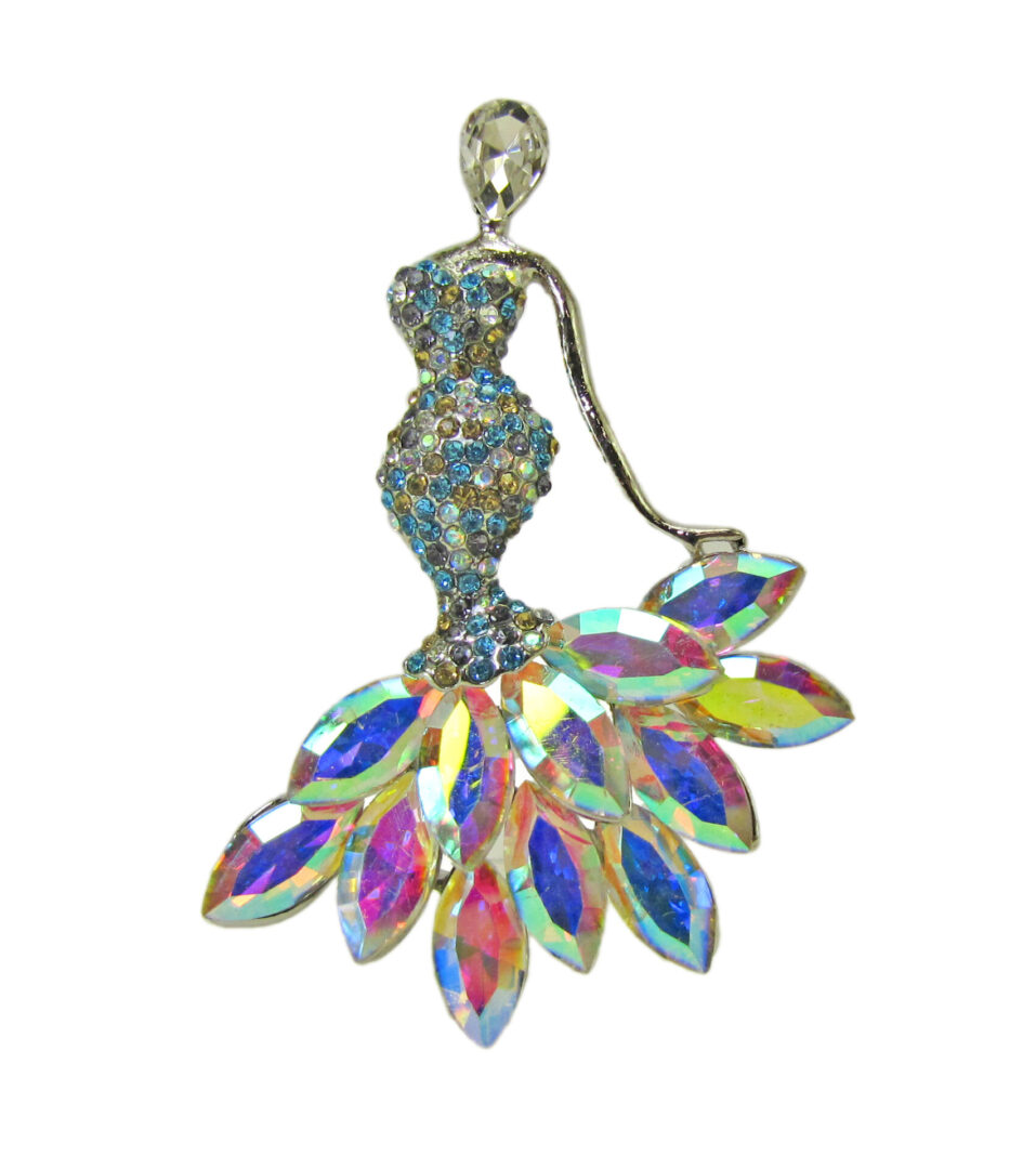 rainbow brooch with woman in a dress design