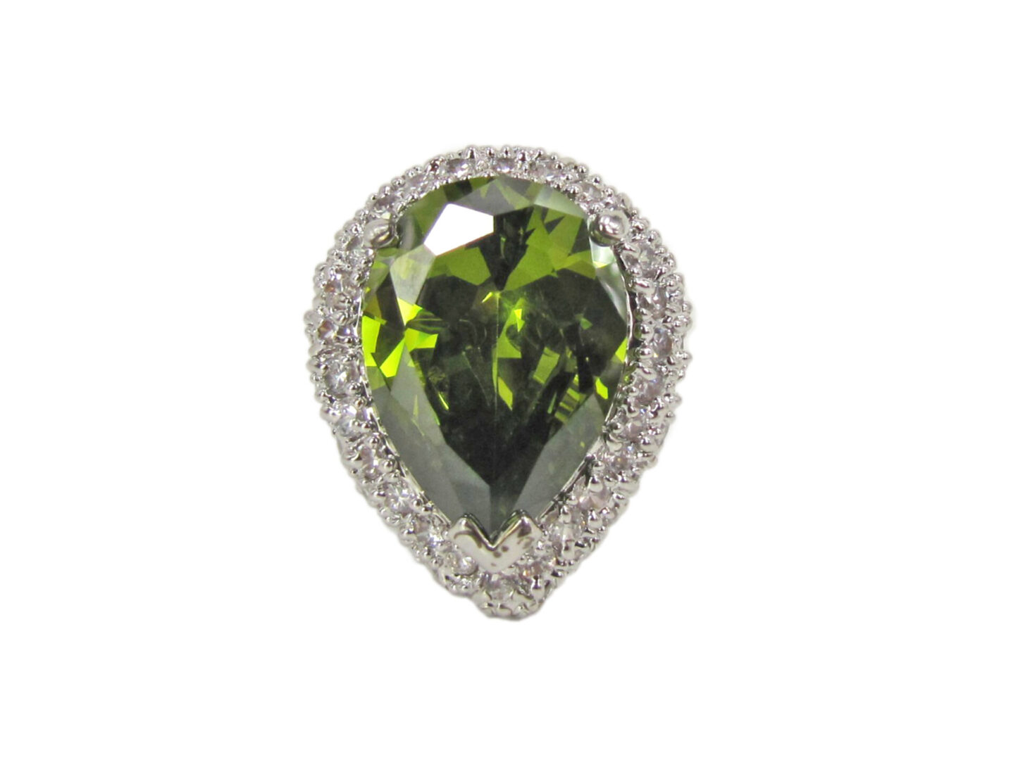 ring with teardrop emerald gem