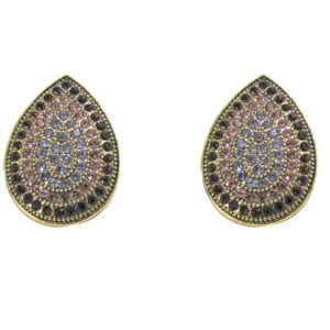 pair of teardrop earrings encrusted with small crystals