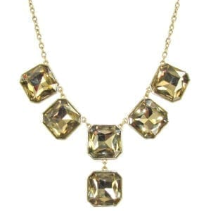 necklace with square cut topaz stones