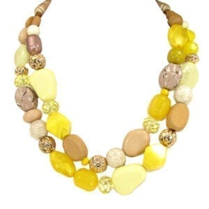 layered necklace with assortment of yellow polished stones and crystals