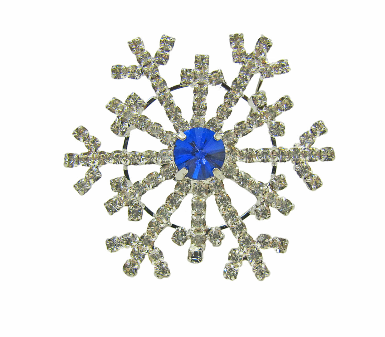 snowflake brooch with large blue center gem