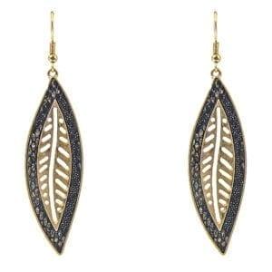 earrings with elongated metal leaf design
