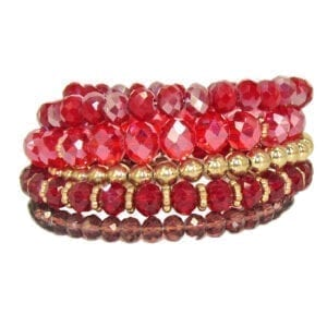 layered bracelet with red beads