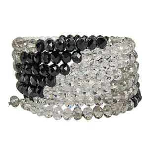 layered bracelet with black beads and white crystals