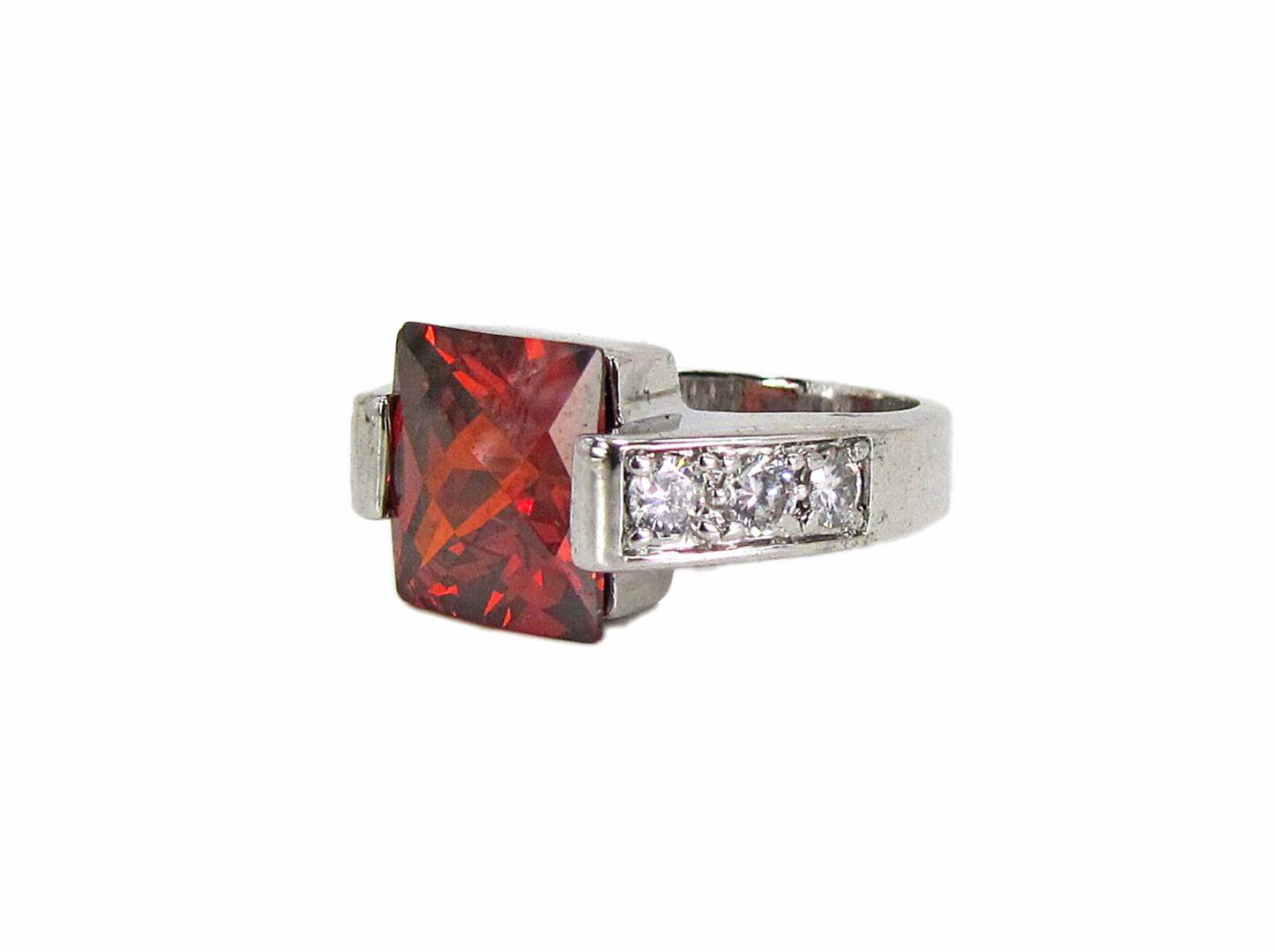 ring with square-cut garnet gem