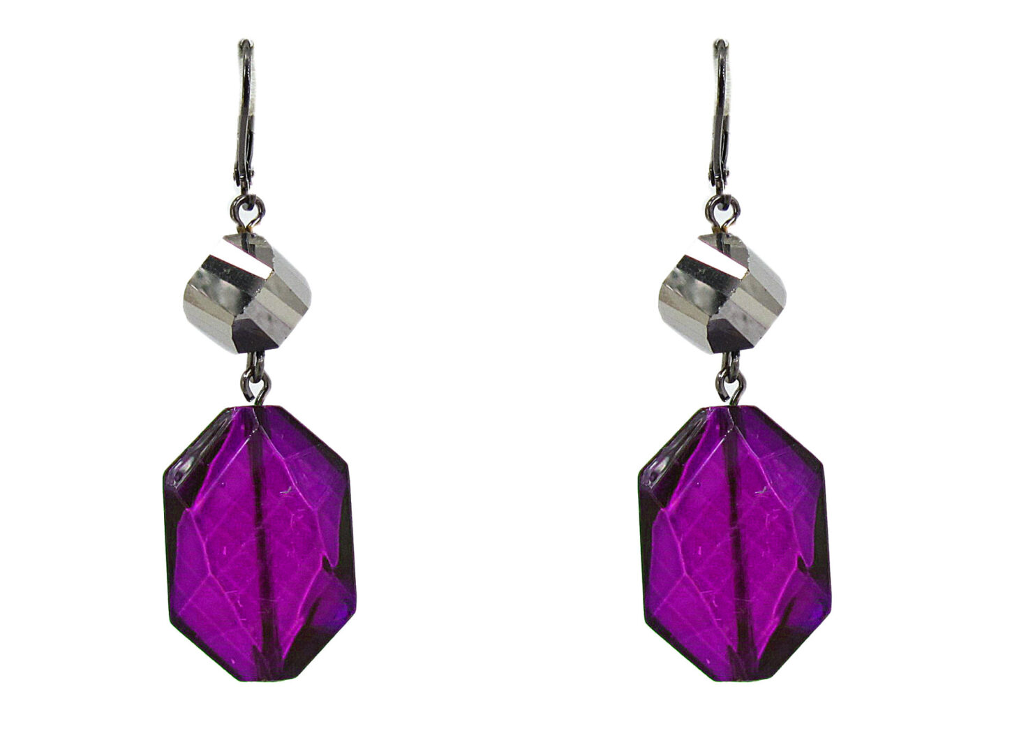 earrings with octagonal deep violet crystals