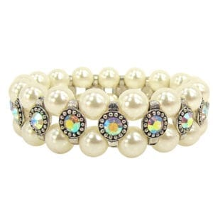 pearl bracelet with rainbow-colored gemstones