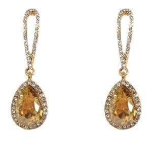 pair of earrings with teardrop amber crystals