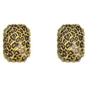 square earrings with animal print design