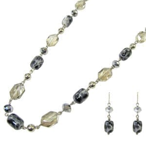 necklace and earrings with dark and transparent crystals