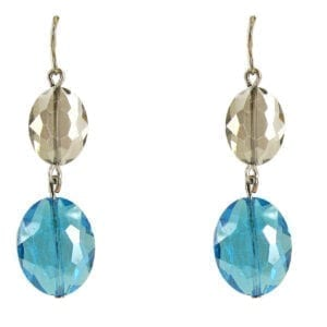 earrings with light brown and sky blue gems