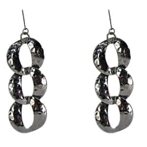 earrings with interconnected silver rings