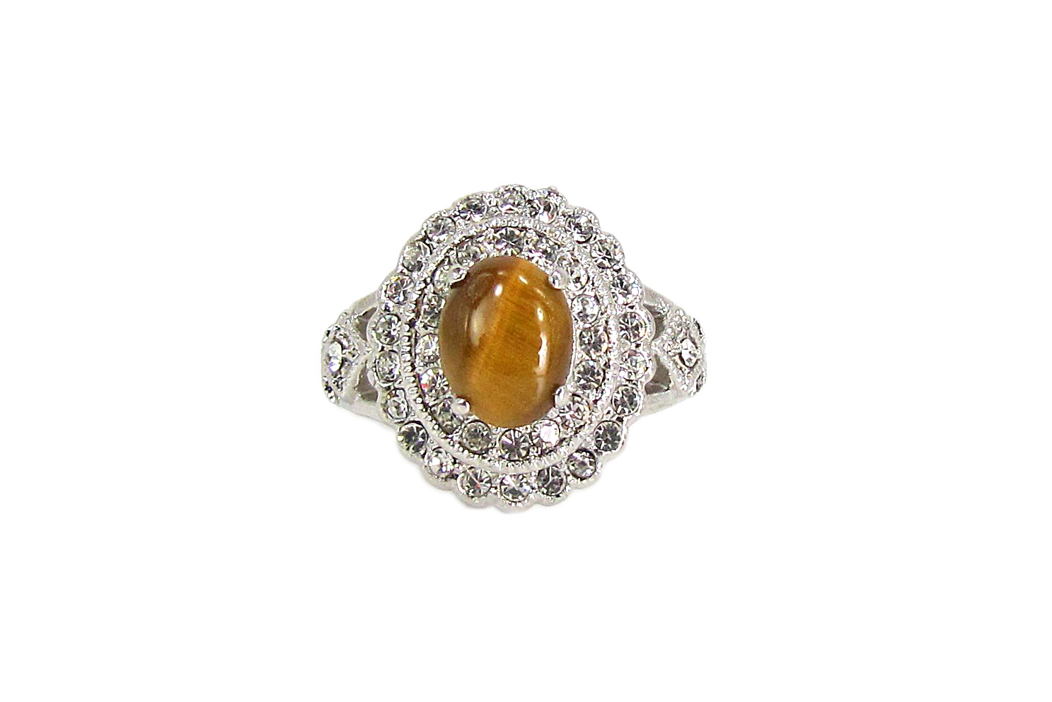 ring with brown banded precious stone