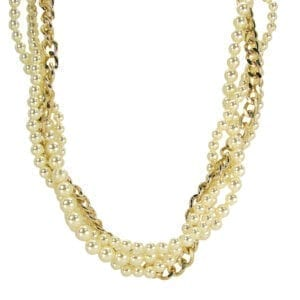 layered necklace with pearls and gold chain links