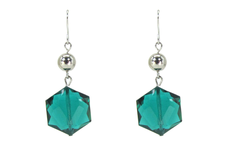 earrings with hexagonal blue green gems