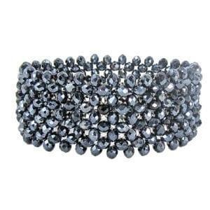 bracelet with silvery metallic beads
