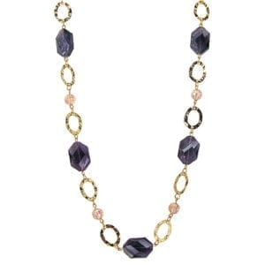 necklace with pink beads and large violet crystals