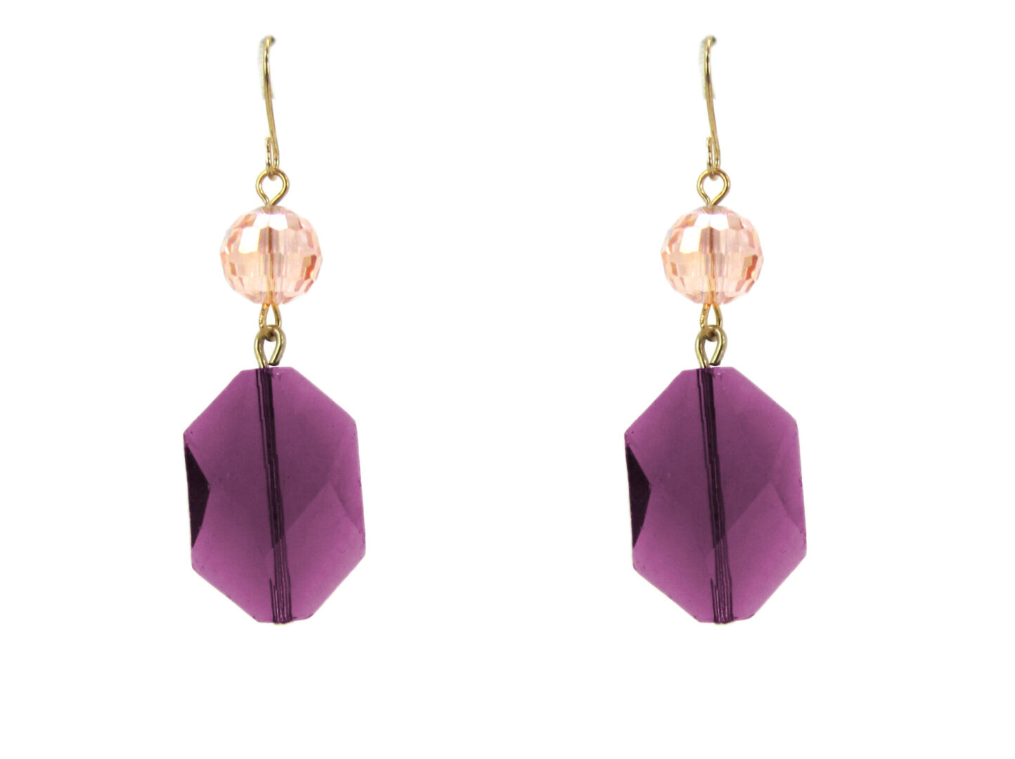 earrings with octagonal violet crystals
