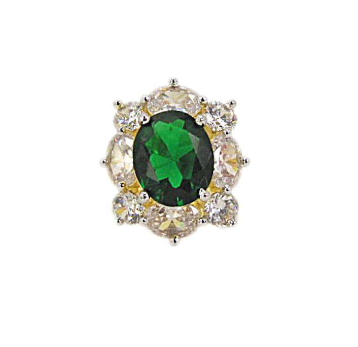 ring with emerald surrounded by diamonds