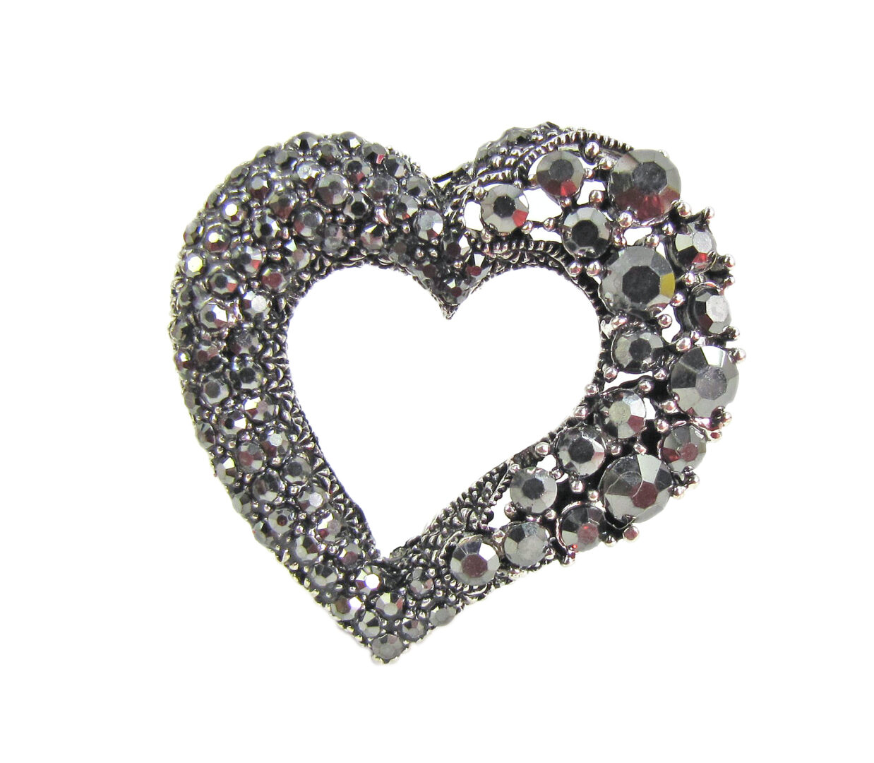 heart-shaped jewelry with black crystals