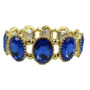 golden bracelet with deep blue gems