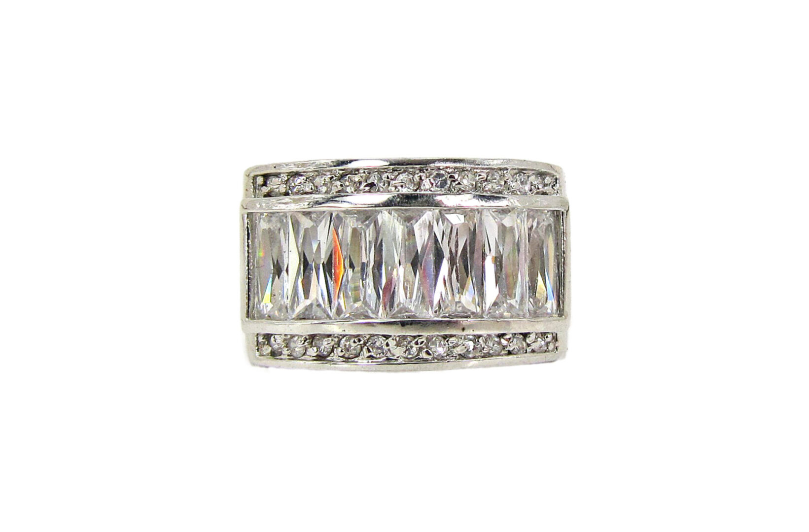 ring with rows of white rectangular crystals