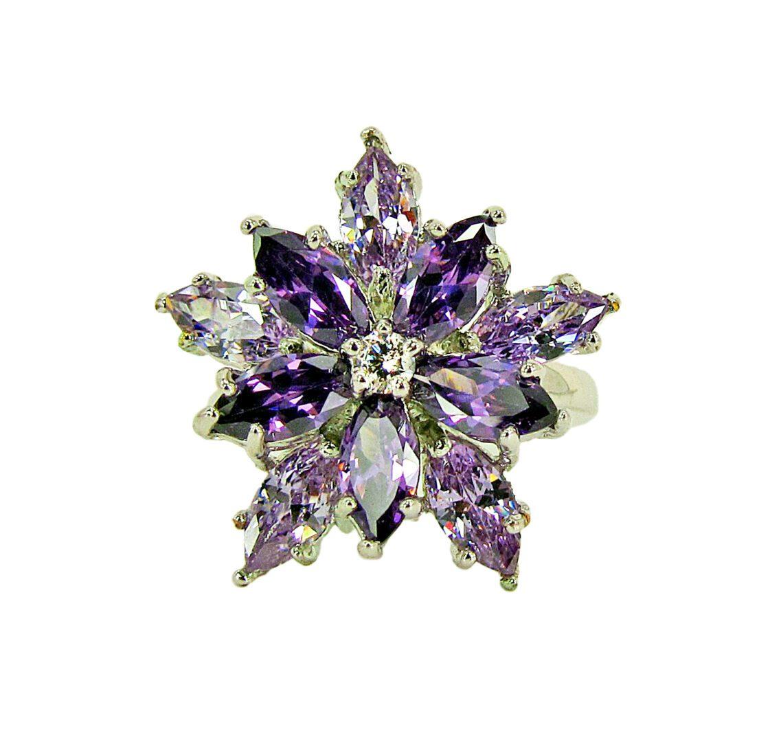 ring with violet gems arranged in a starburst
