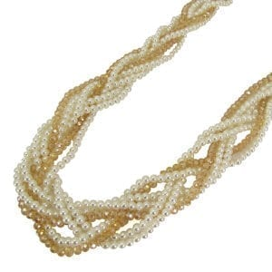 twisted necklace with brown and white pearls