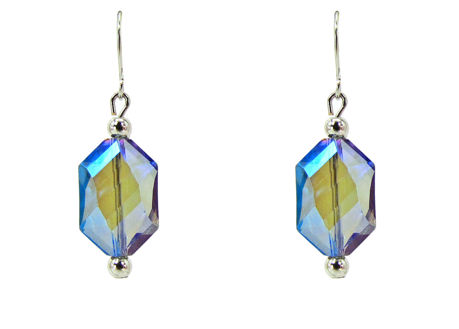 earrings with hexagonal blue crystals