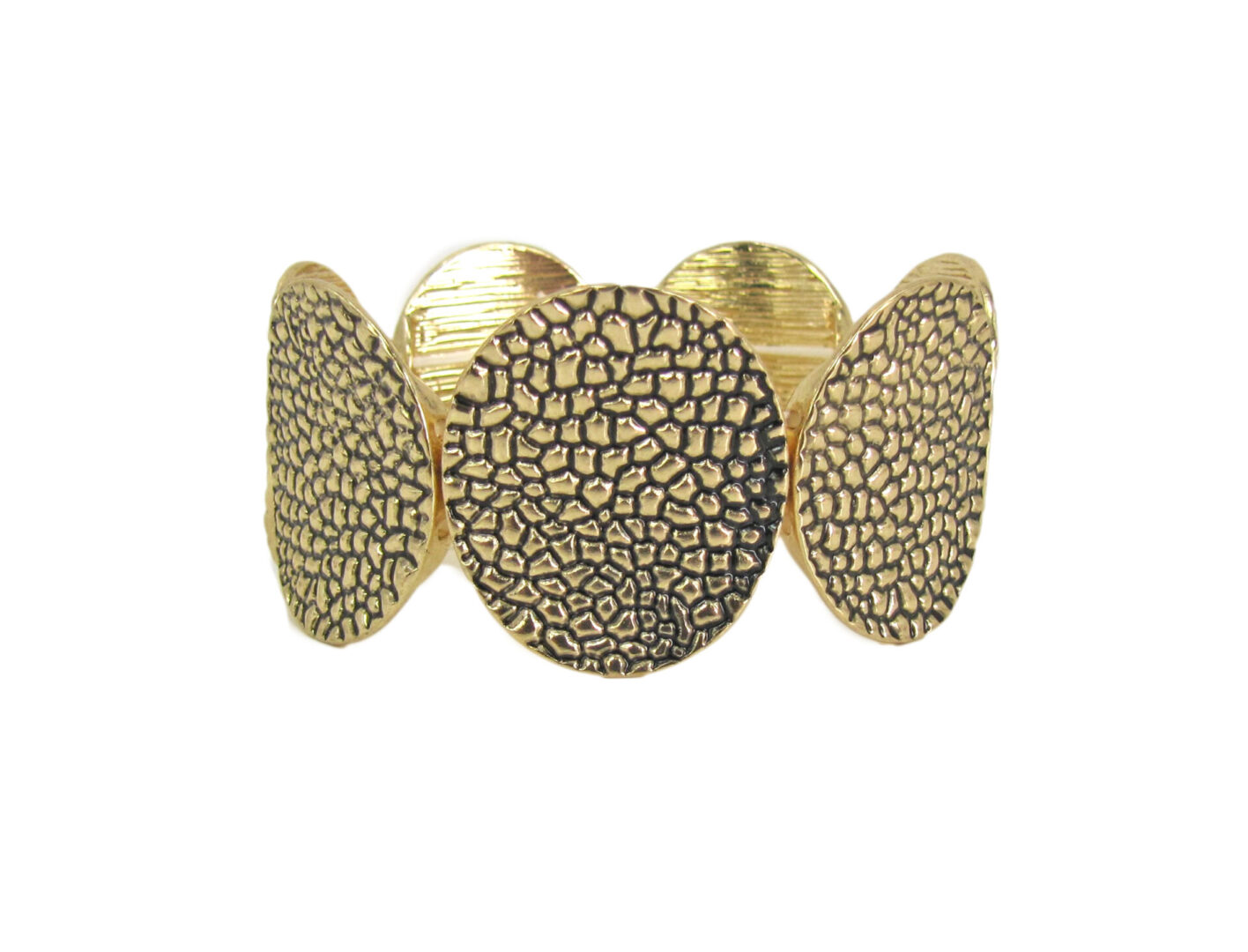 golden bangle with scale design