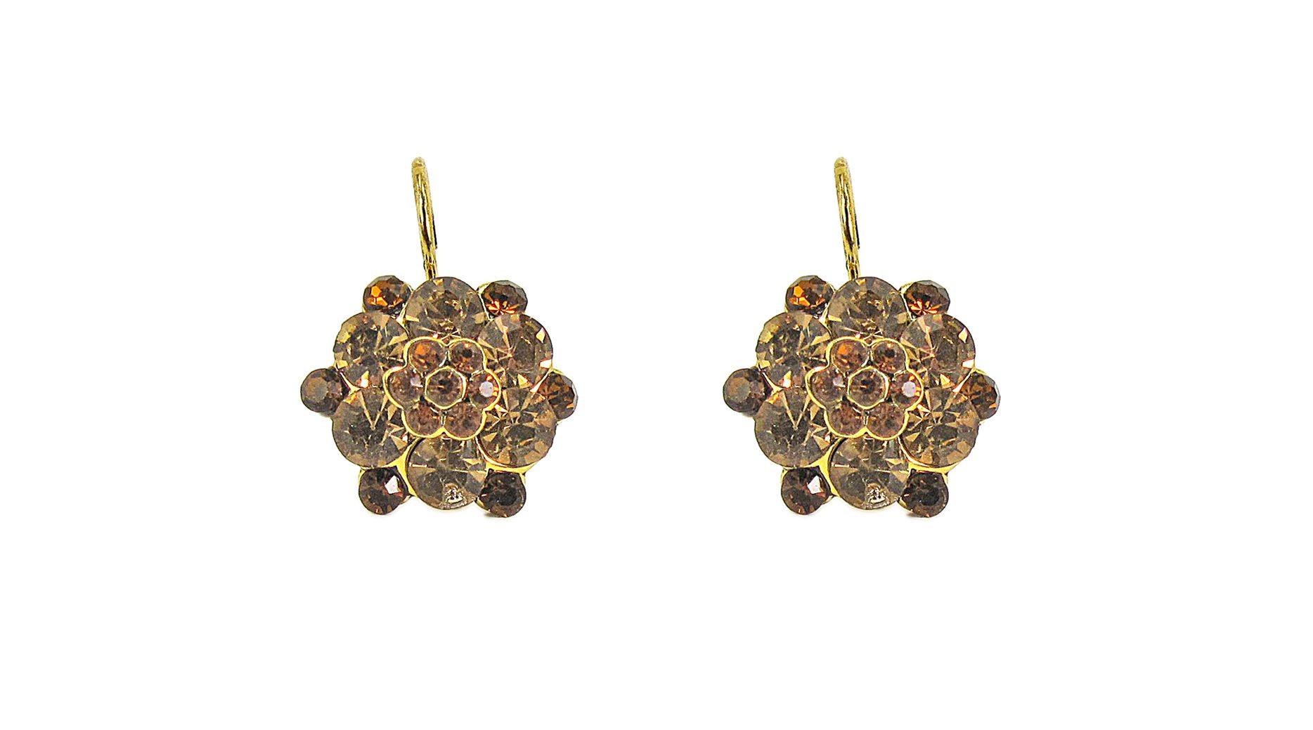 earrings with brown gems arranged like flowers