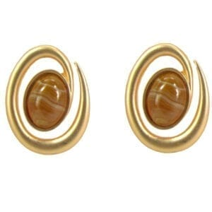 earrings with banded brown stone design