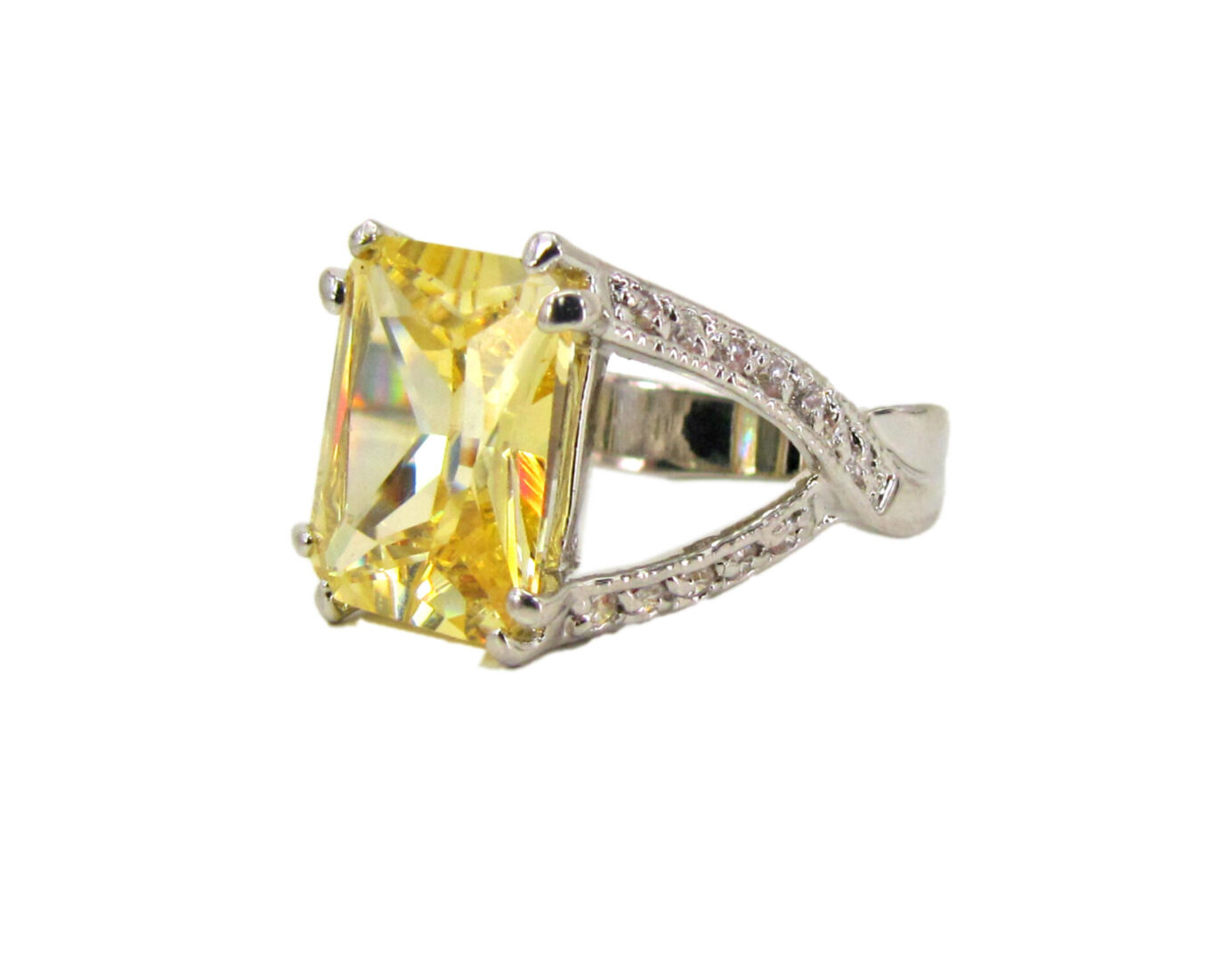 ring with square-cut yellow gem