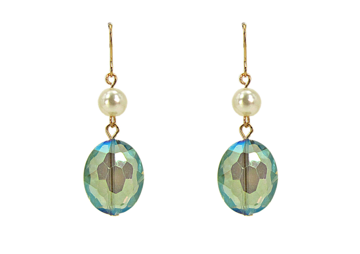 earrings with blue crystal and pearl