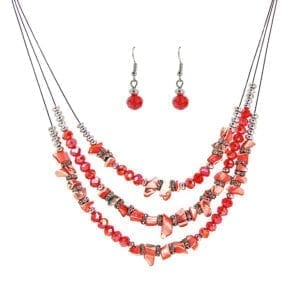 earrings and layered necklace made of red polished stone