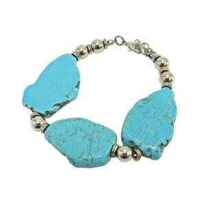bracelet with large turquoise pendants