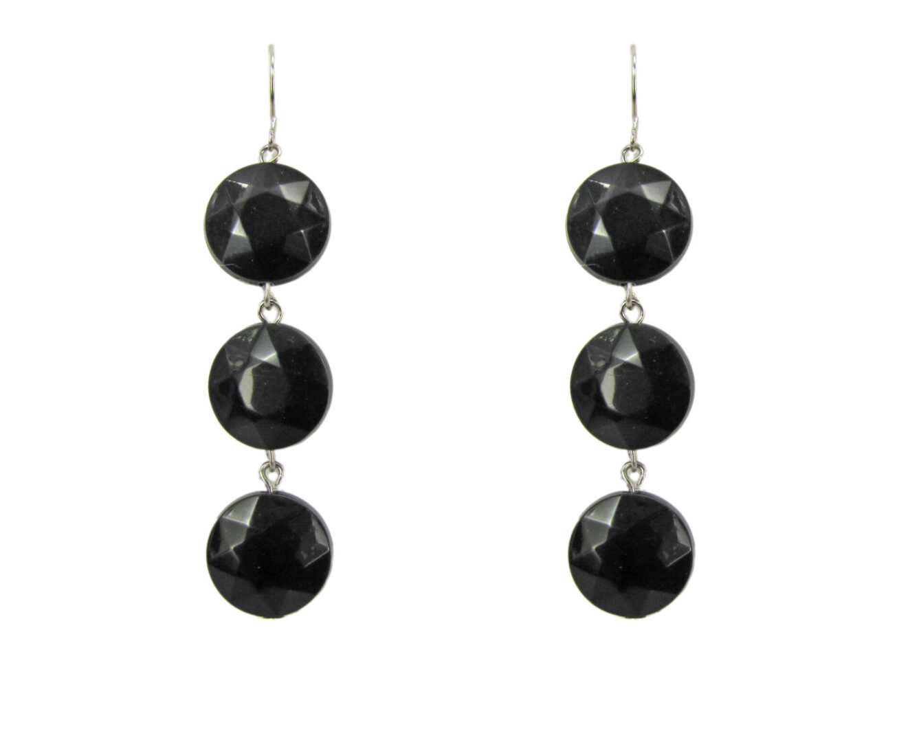 pair of earrings with three rough-cut black stones