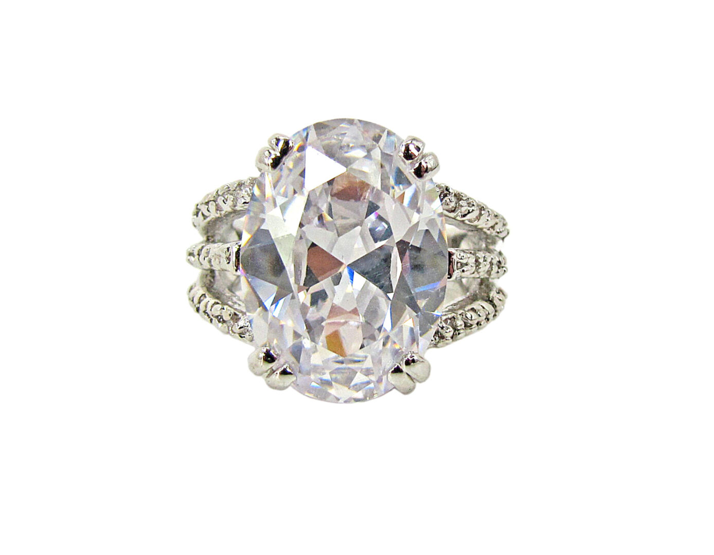 ring with large white oval crystal