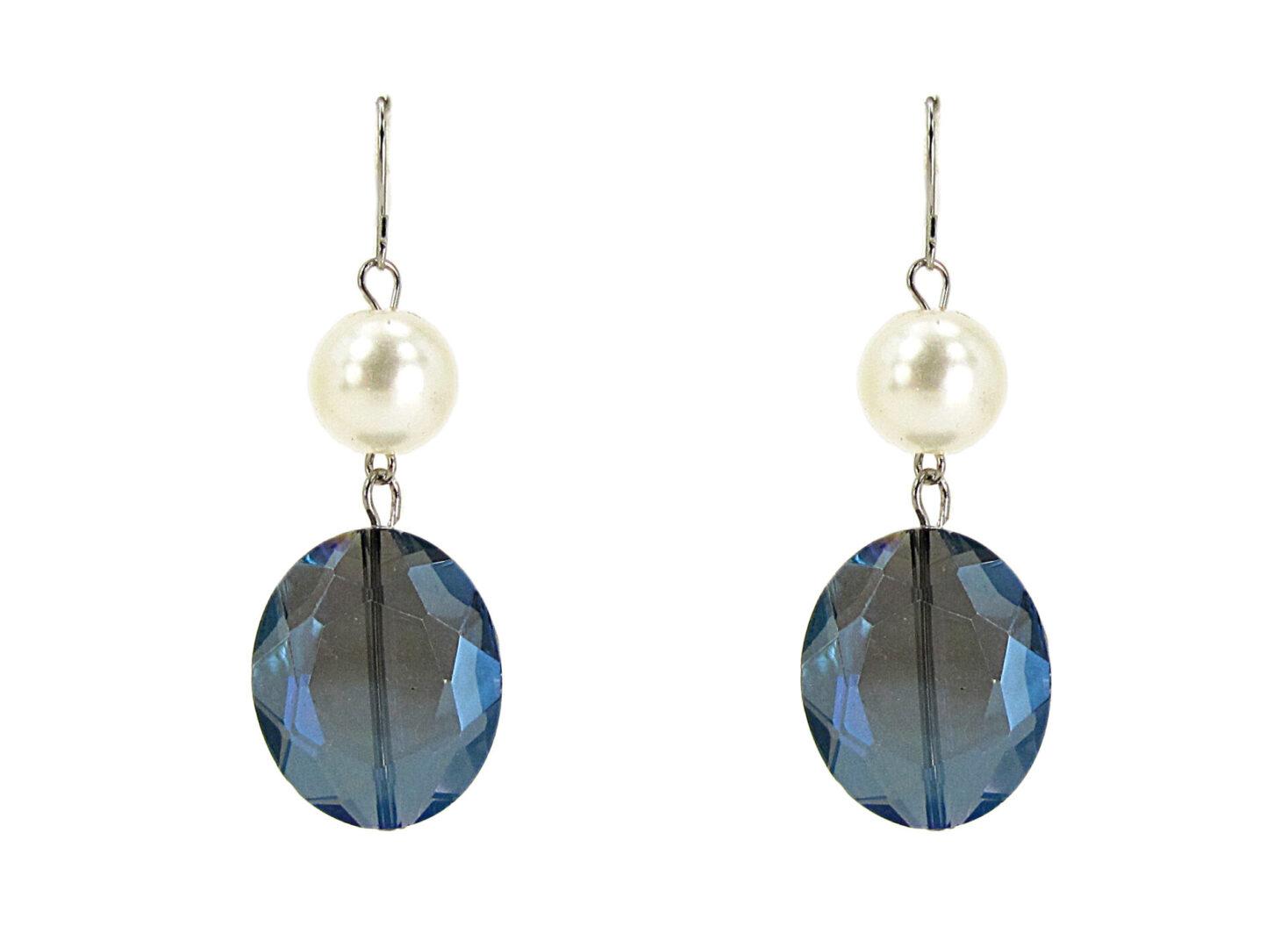 earrings with dark blue gemstones and pearls