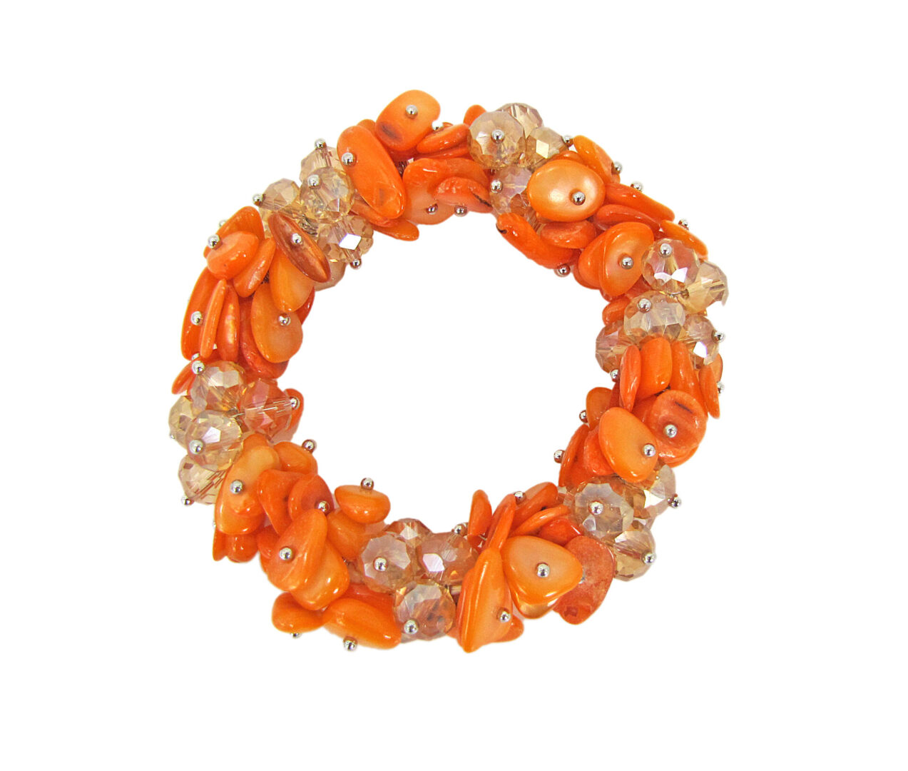 bracelet with orange beads and crystals in clusters