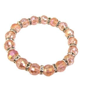 bracelet with pink crystals and silver beads