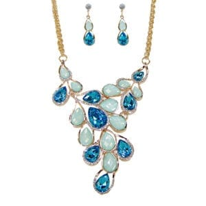 necklace and earrings with blue crystals and gem stones