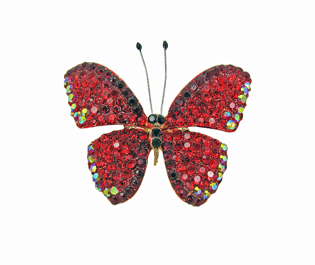 butterfly jewelry filled with red gemstones